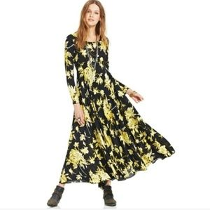 Free People First Kiss black floral maxi dress s